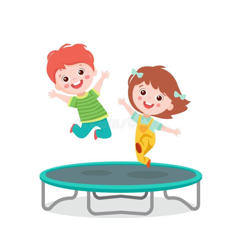 Cartoon-Kinder springen auf Trampolin auf weißer Vector-Illustration stock abbildung