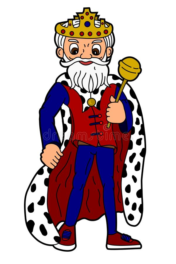 Cartoon king. Holding sceptre isolated on a white background vector illustration