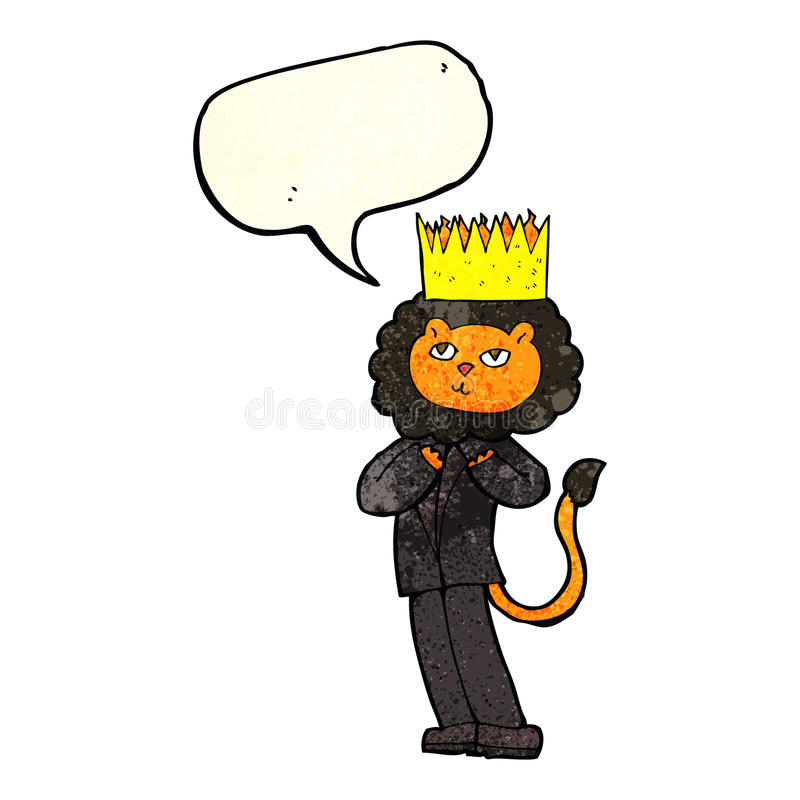 Cartoon king of the beasts with speech bubble stock illustration