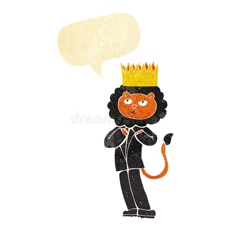 Cartoon king of the beasts with speech bubble vector illustration