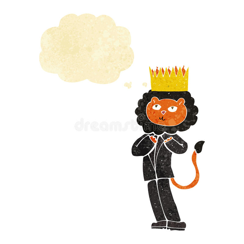 Cartoon king of the beasts with thought bubble stock illustration