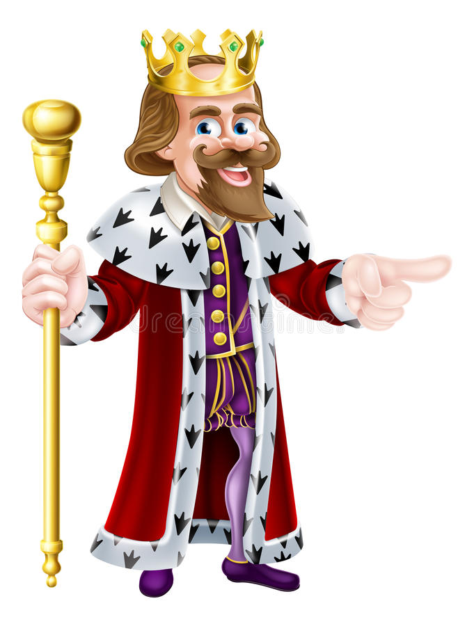 Cartoon King Pointing. Happy King cartoon character wearing a crown, holding a sceptre and giving a thumbs up stock illustration