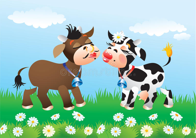 Download Cartoon Kissing Cows In Love Stock Vector - Image: 25311760