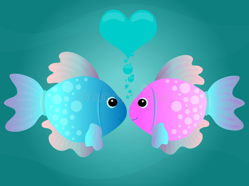Cartoon Kissing Fish royalty free stock photography