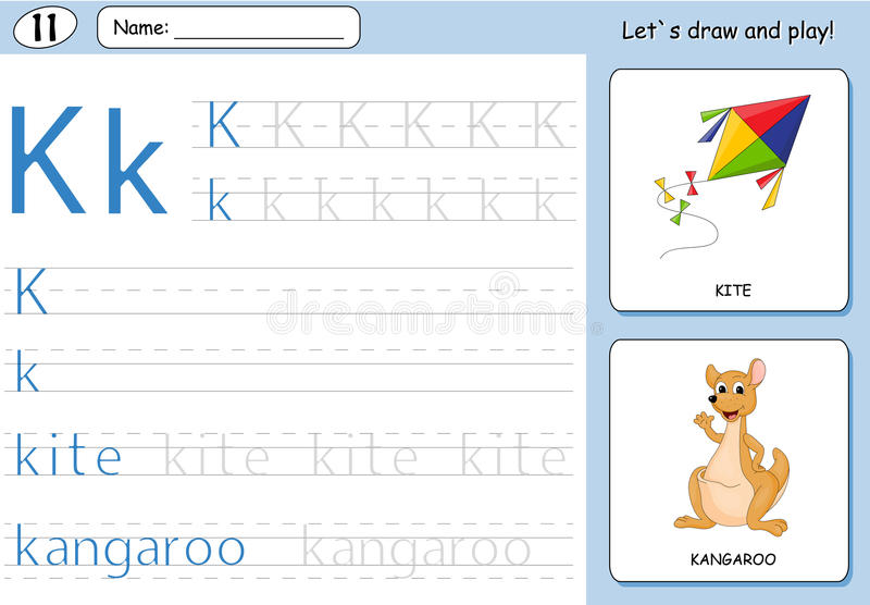Cartoon kite and kangaroo. Alphabet tracing worksheet. Writing A-Z, coloring book and educational game for kids stock illustration