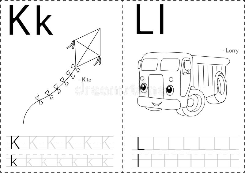 Cartoon kite and lorry. Alphabet tracing worksheet: writing A-Z. Coloring book and educational game for kids stock illustration