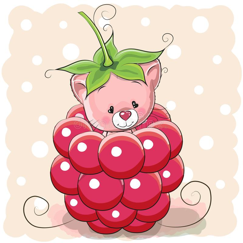 Cartoon Kitten is sitting inside a raspberry. Cute Cartoon Kitten is sitting inside a raspberry stock illustration