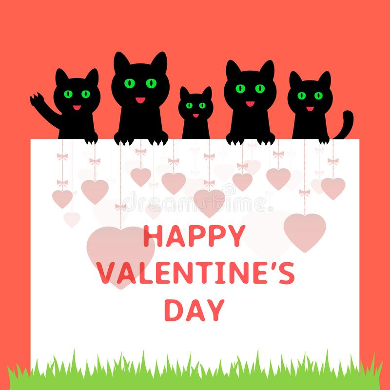 Cartoon kittens hiding behind paper. Happy Valentines day greeting card. stock illustration
