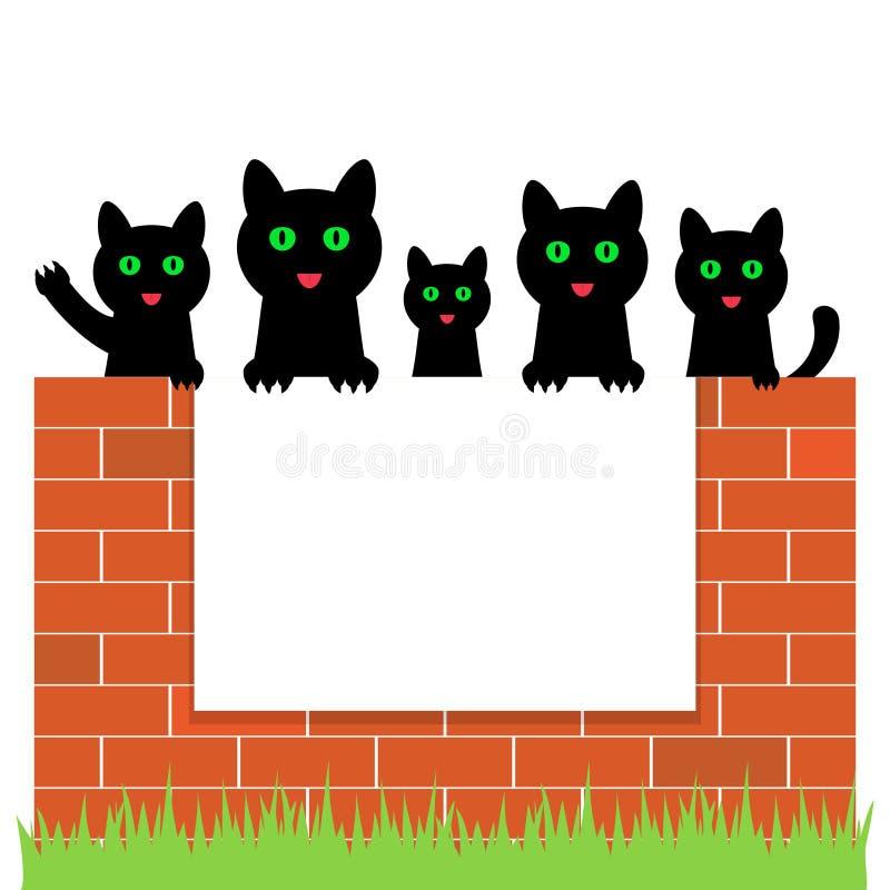 Cartoon kittens hiding behind paper, vector illustration. vector illustration