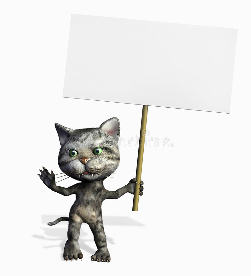 Cartoon Kitty with Blank Sign - includes clipping path royalty free illustration