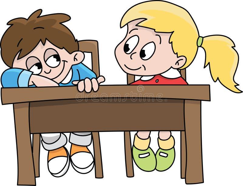 Cartoon klasgenoten die samen in vectorillustratie van het klaslokaal zitten stock illustratie