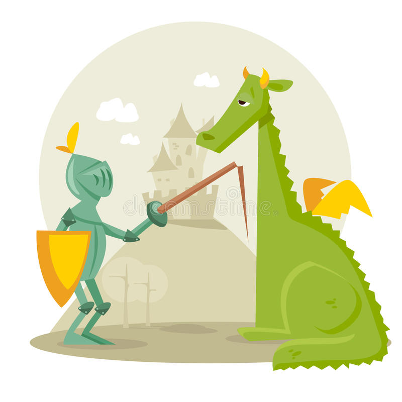 Cartoon knight with a dragon royalty free illustration