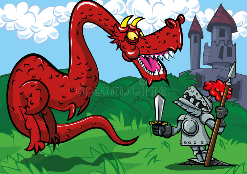 Cartoon knight facing a big red dragon royalty free illustration
