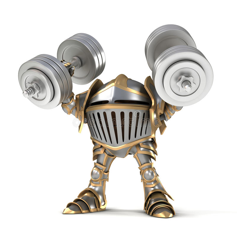 Cartoon Knight weightlifter stock photos