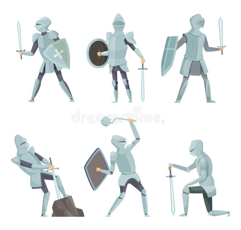Cartoon knights. Medieval warrior on horse vector cartoon characters in action poses royalty free illustration