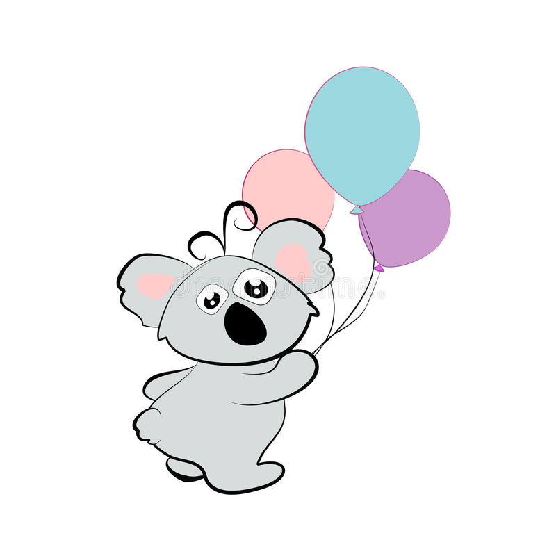 Download Cartoon Koala With Balloons Stock Vector - Illustration: 37524767