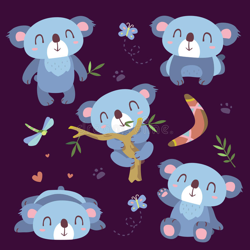 Cartoon koala set royalty free illustration