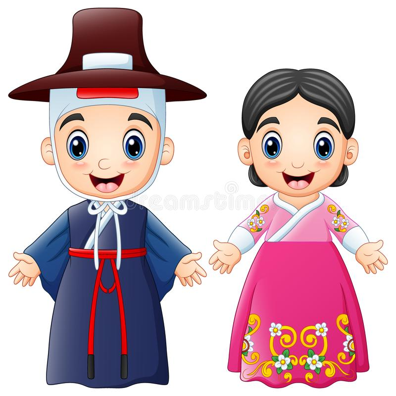 Cartoon Korean couple wearing traditional costumes vector illustration