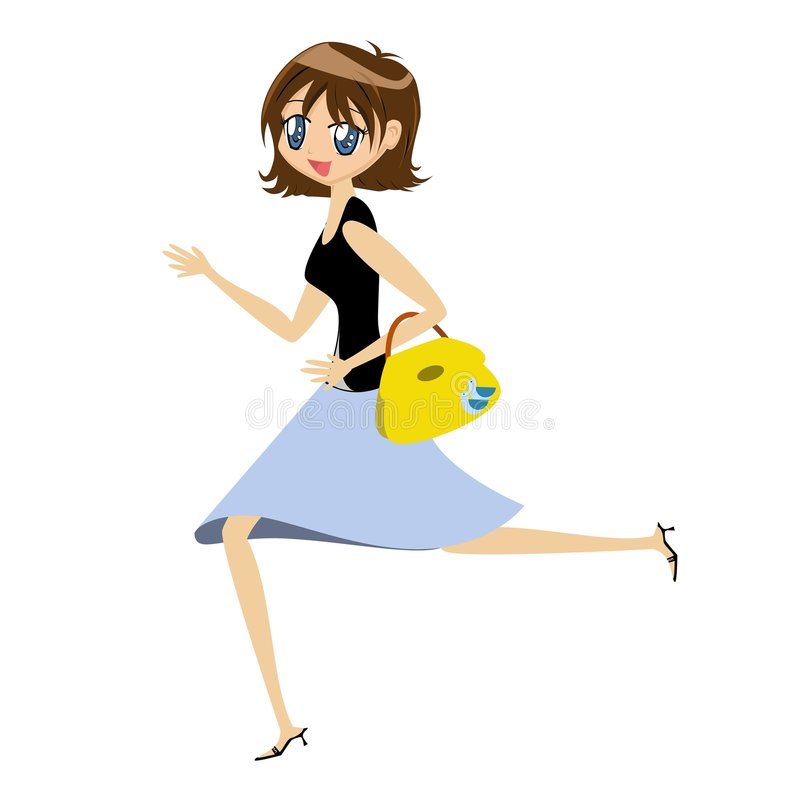 Download Cartoon Lady with Handbag stock vector. Illustration of brunette - 2286310