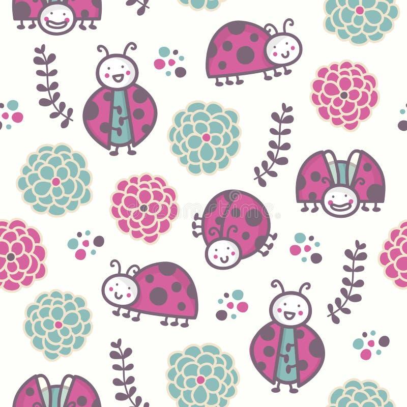 Cartoon ladybirds, vector seamless pattern royalty free stock image