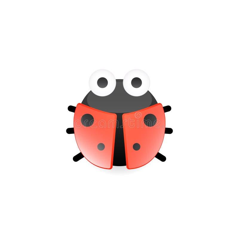 Cartoon ladybug icon. Clipart image isolated on white background vector illustration