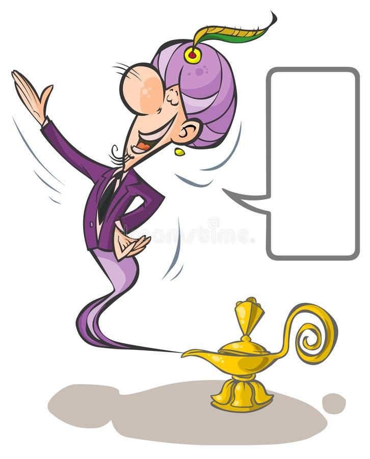 Cartoon Lamp Genie. stock illustration