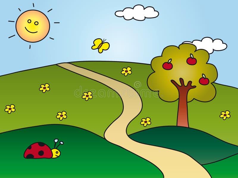 Cartoon landscape stock illustration