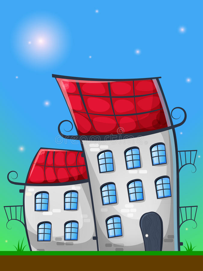 Cartoon landscape with houses in german style, grass, and sun vector illustration