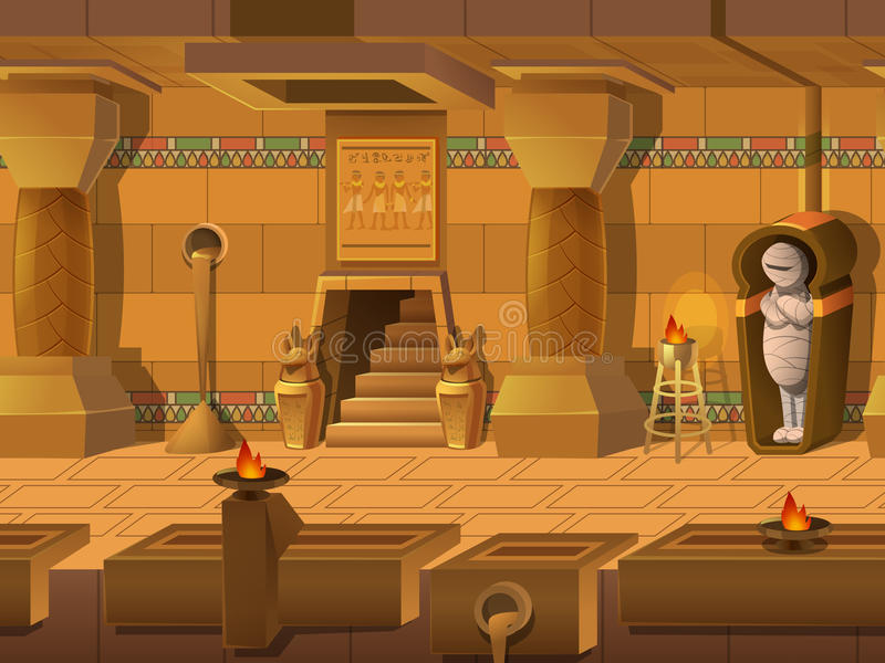 Cartoon landscape inside Egyptian tomb, vector unending background with separated layers. Cartoon landscape inside Egyptian tomb, vector unending background stock illustration