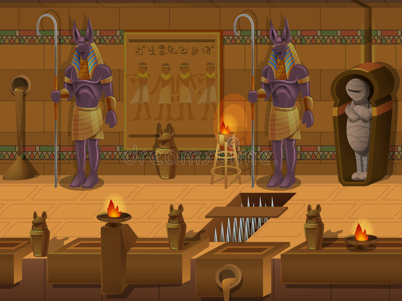 Cartoon landscape inside Egyptian tomb, vector unending background with separated layers. Cartoon landscape inside Egyptian tomb, vector unending background royalty free illustration