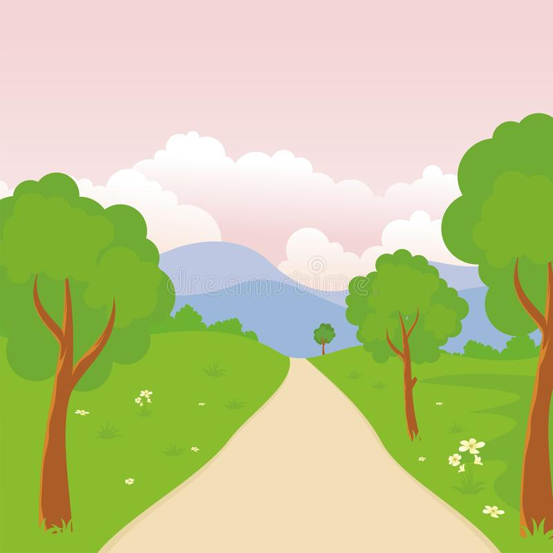 Cartoon landscape, with Lovely and cute scenery design. Provided an empty area for text. suitable for children background, game background, book cover, flyer royalty free illustration