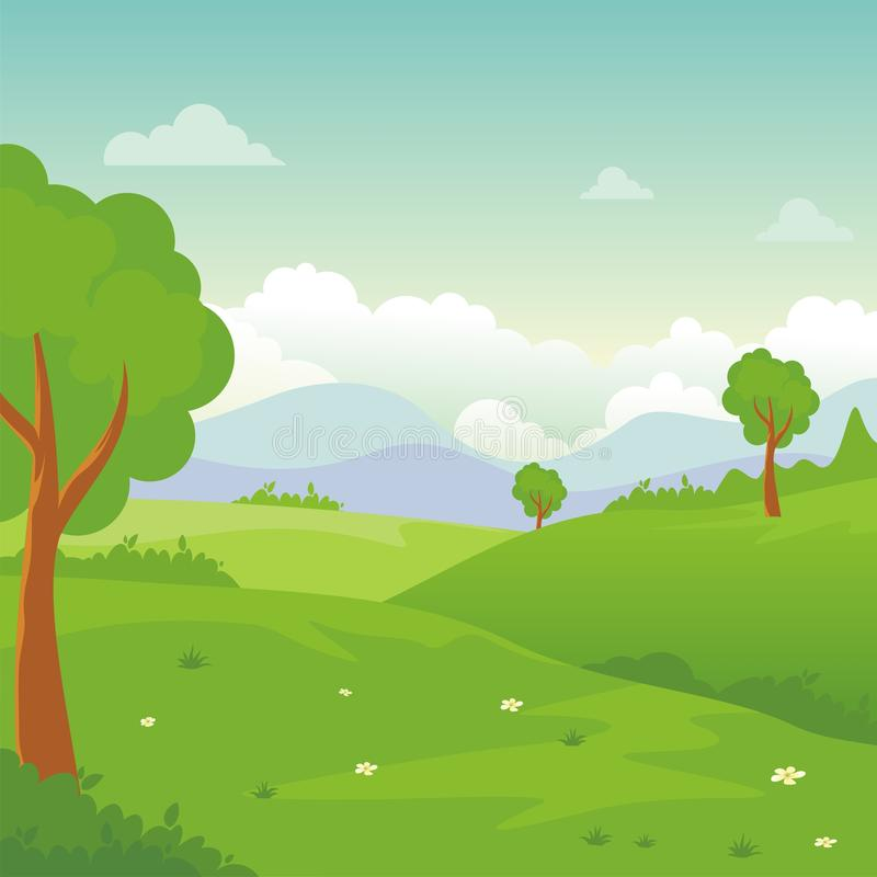 Cartoon landscape, with Lovely and cute scenery design. Provided an empty area for text. suitable for children background, game background, book cover, flyer vector illustration