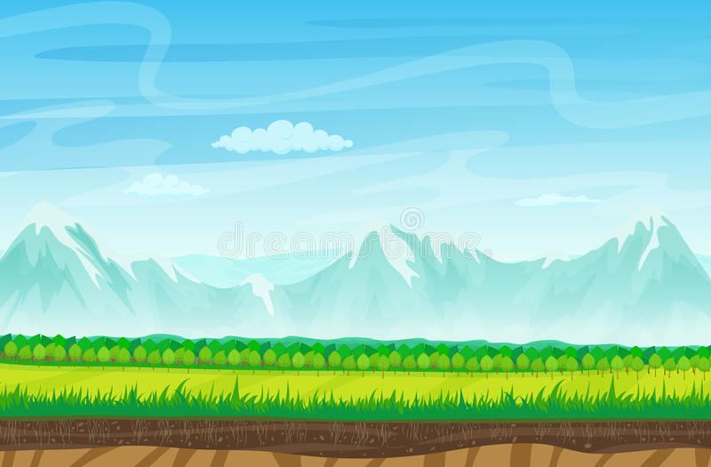 Cartoon landscape with rocks, mountains and grass. Landscape for game. stock illustration
