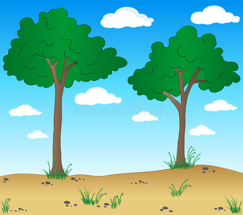 Cartoon landscape with trees vector illustration