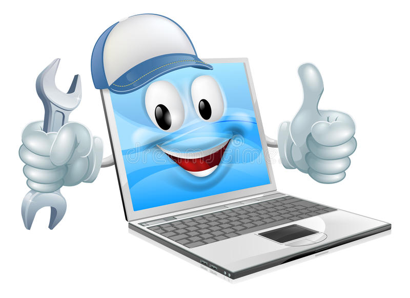 Cartoon laptop computer repair mascot royalty free illustration