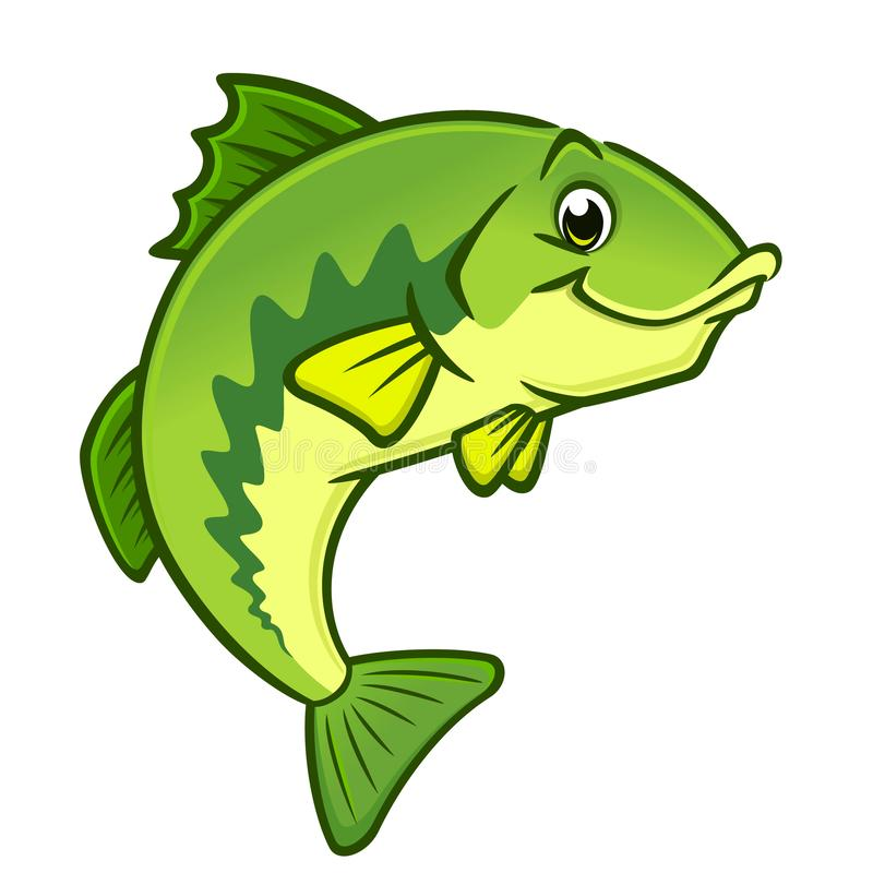 Cartoon Largemouth Bass stock illustration