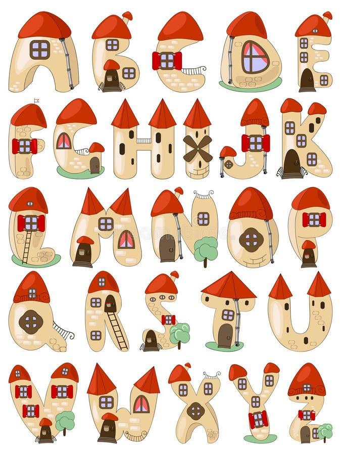 Download Cartoon Latin Alphabet Consists Of Houses Stock Vector - Image: 19180349