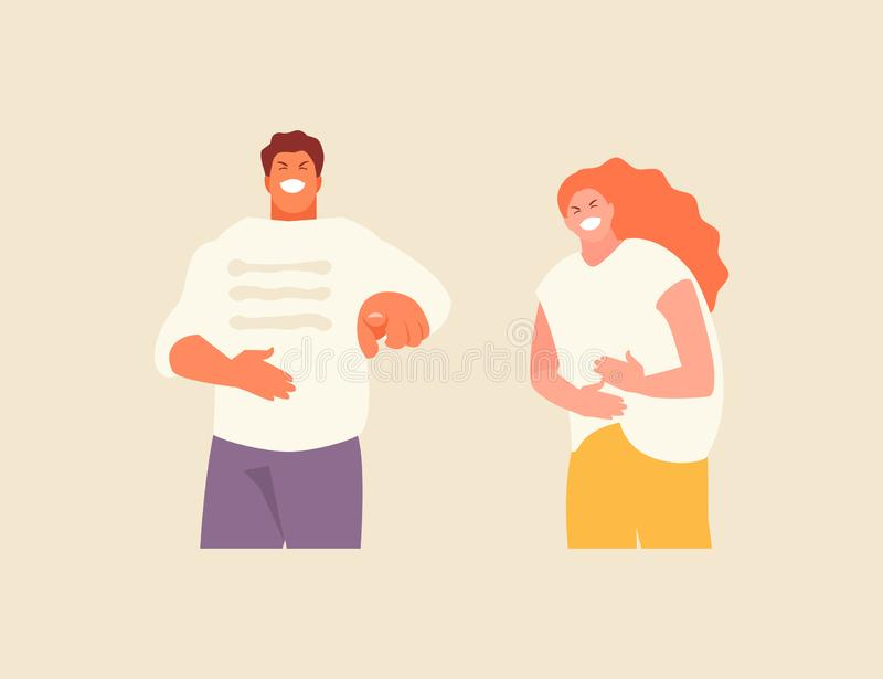Laughing man and woman vector. Cartoon laughing man and woman. Positive emotions illustration vector illustration