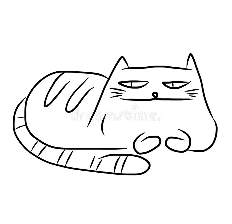 Cartoon lazy cat. Black and white sketch of a funny fat lazy cat stock illustration