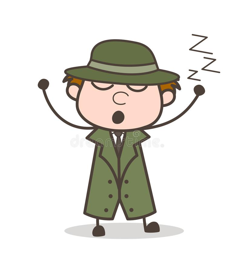 Cartoon Lazy Detective Sleeping Vector Illustration. Design royalty free illustration