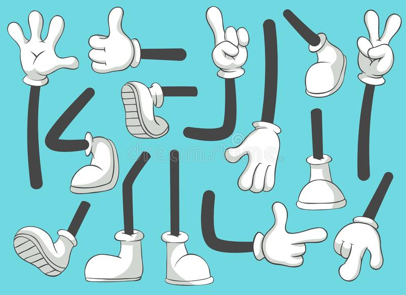 Cartoon legs and hands. Leg in boots and gloved hand, comic feet in shoes. Glove arm vector isolated illustration set royalty free illustration