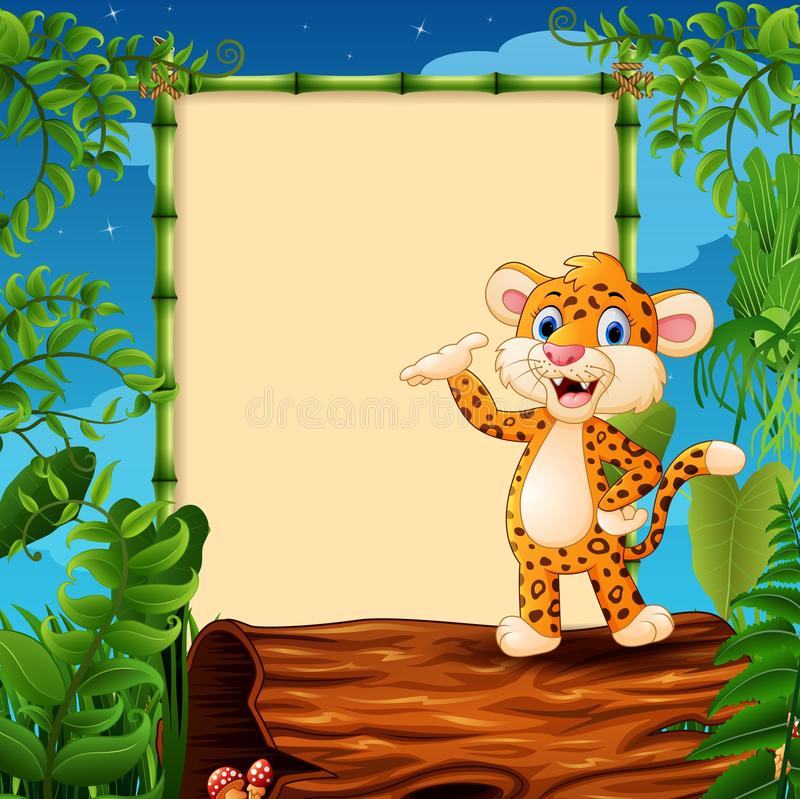 Cartoon leopard presenting on hollow log near the empty framed signboard. Illustration of Cartoon leopard presenting on hollow log near the empty framed stock illustration