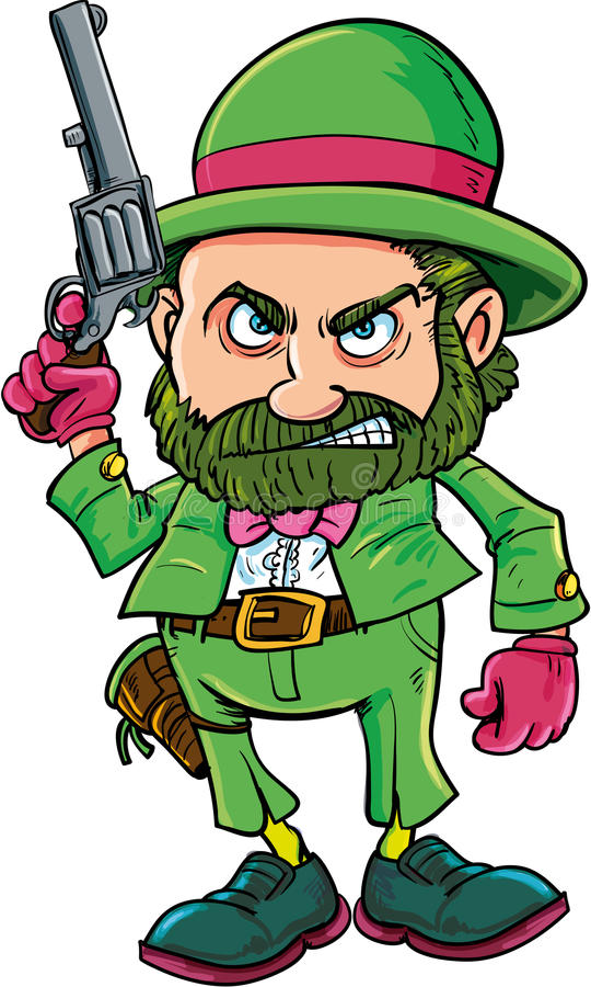 Cartoon Leprechaun cowboy with six gun. Isolated on white stock illustration