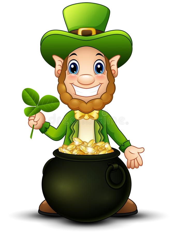 Cartoon Leprechaun with pot of gold and holding clover leaf vector illustration