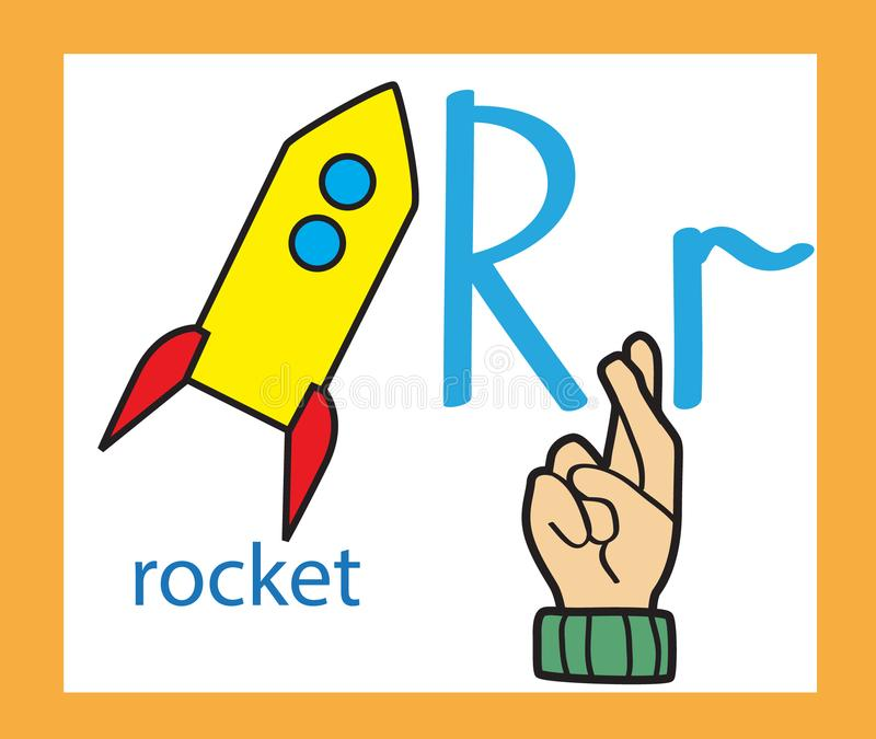 Download Cartoon Letter R Creative English Alphabet ABC Concept Sign Language And