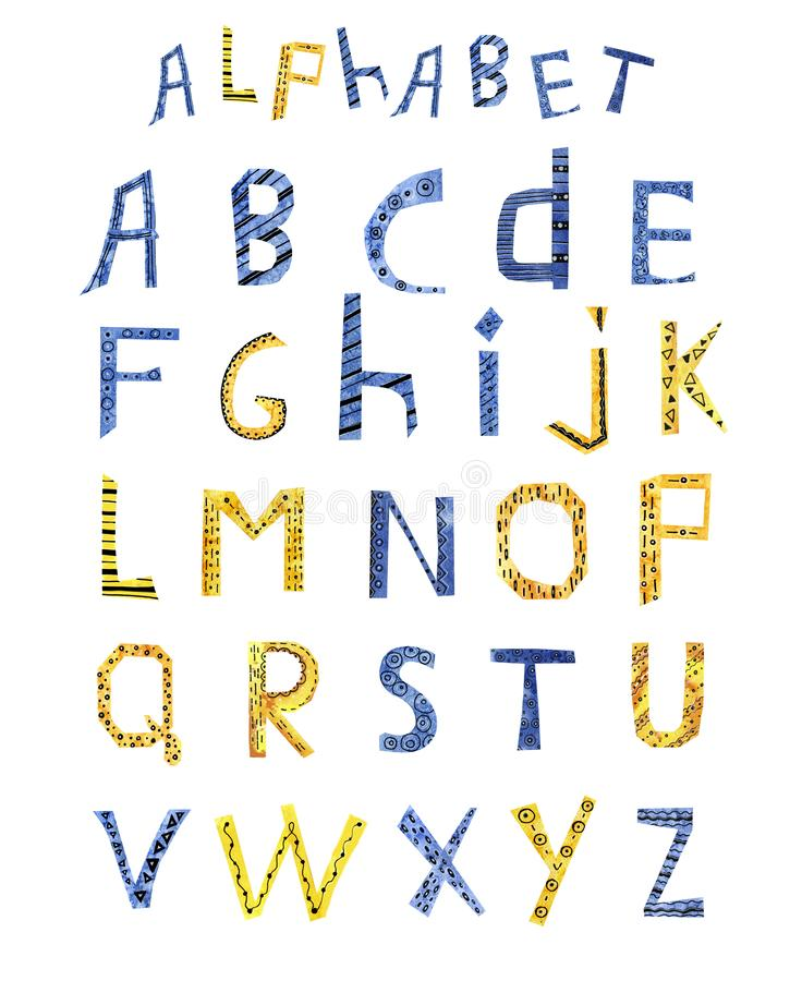 Cartoon letters of the English alphabet. Watercolor hand illustration collage made of paper. For the design of children`s product vector illustration