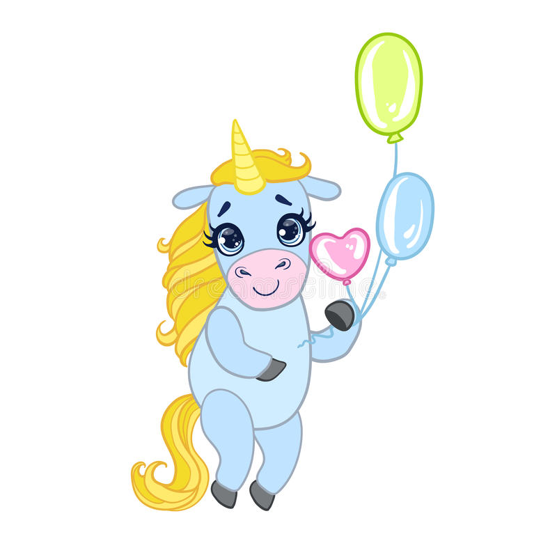 Cartoon light blue lovely unicorn standing and holding colorful balloons. Fairy tale vector character royalty free illustration