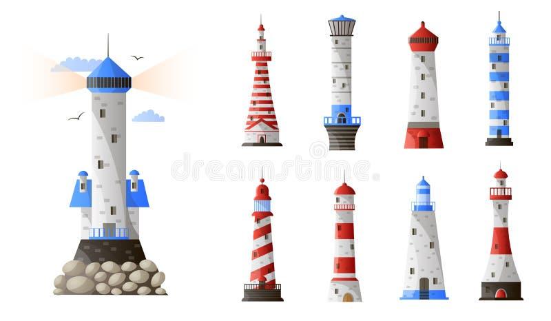 Cartoon lighthouse different types set isolated on white background stock illustration