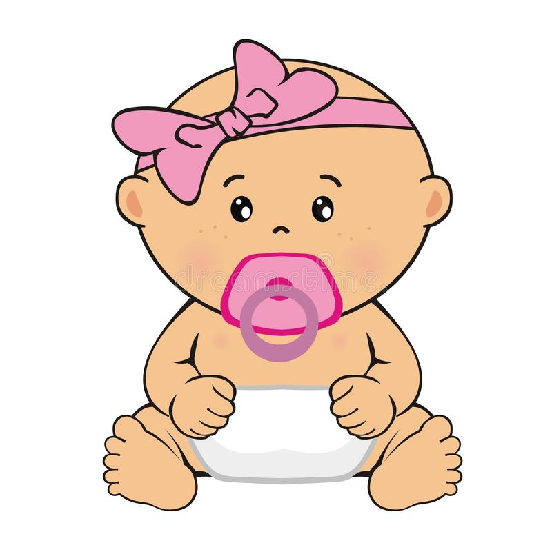 Baby girl sitting. Child`s drawing royalty free stock photo