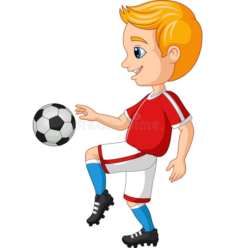 Cartoon lille pojke som spelar fotboll mot en vit bakgrund royaltyfri illustrationer